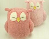 "Nursery Decor Owl Pink Sleepy Owl Recycled Felted Wool Eco Friendly Lamb Wool Stuffing Height 7"""