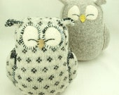 """White and Dark Grey Sleepy Owl  Patterned  Felted Wool Lamb Wool Stuffing Home Decor Nursery Eco Friendly Upcycled Height 7"""""""