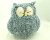 """Recycled Sleepy Owl Light  Blue  Felted Wool Lamb Wool Stuffing Eco Friendly Home Decor Ornament Height 7"""""""