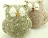 """Owl Felt Wool  Recycled  with Lamb Wool Stuffing Beige Gray with White Spots Home Decor Eco Friendly Nursery Height 7"""" Eco Friendly Upcycled"""