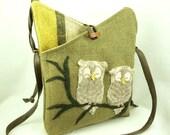 Owl Linen Shoulder Bag  Linen Messenger Bag Hip Bag Moss Green Owl Applique Adjustable Leather Strap Upcycled Eco-Friendly