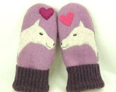 Felted Wool Mittens Horse Recycled Wool Mittens Lilac Grey Pink Horse Applique Fleece Lining Leather Palm Eco Friendly Upcycled Size S/M