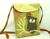 Owl Shoulder Bag Purse Linen Upcycled Linen Tote in Moss Green Lime Brown Owl Applique and Adjustable Strap