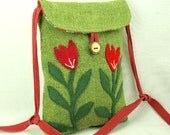 Linen Shoulder Bag Recycled Linen Purse Hip Bag Green and Red Flower Applique Adjustable Leather Strap Upcycled Eco-Friendly