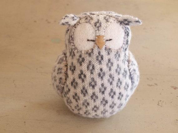 Upcycled Felted Wool Grey and White Sleepy Owl