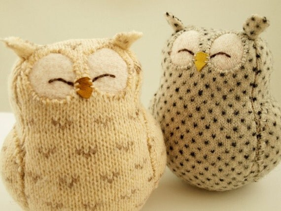 Upcycled Felted Wool  Natural White  Owl with Grey Spots