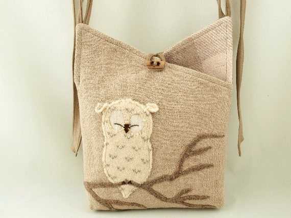 Upcycled, Repurposed Eco Friendly Linen Messenger Bag in Natural Color, Beige  and Natural White with Owl Applique and Adjustable Leather Strap