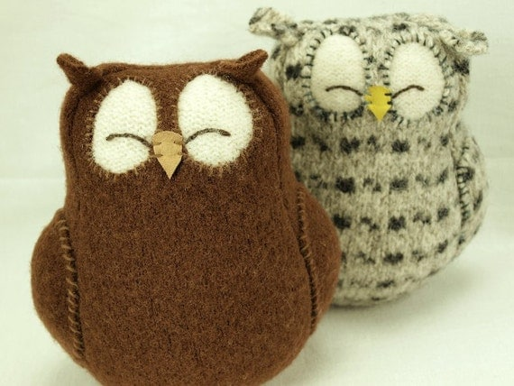 "Brown Sleepy Owl  Felted Wool amb Wool Stuffing Height 7"" Eco Friendly Upcycled"