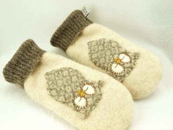 Owl Mittens  Felted Wool in Natural White, Beige and Grey with Owl Applique and Suede Palm Eco Friendly UpcycledSize M/L