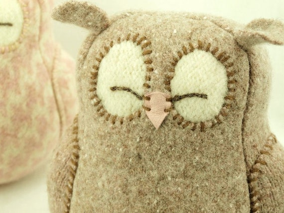 "Light Beige Brown Sleepy Owl  Felted Wool Lamb Wool Stuffing Height 7"" Eco Friendly Upcycled"