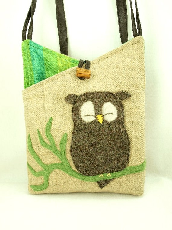 Owl Shoulder Bag  Linen Natural Color Brown and Green Owl Applique Adjustable Leather Strap Upcycled Eco Friendly Height 10""