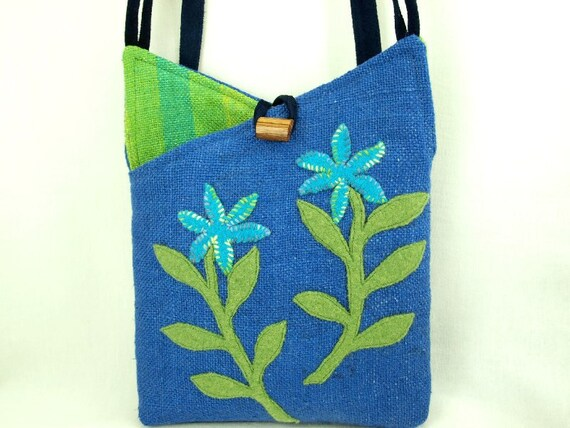 Flower Linen Shoulder Bag Linen Upcycled Tote Recycled Messenger Blue Turquoise Applique Adjustable Leather Strap Upcycled Eco Friendly