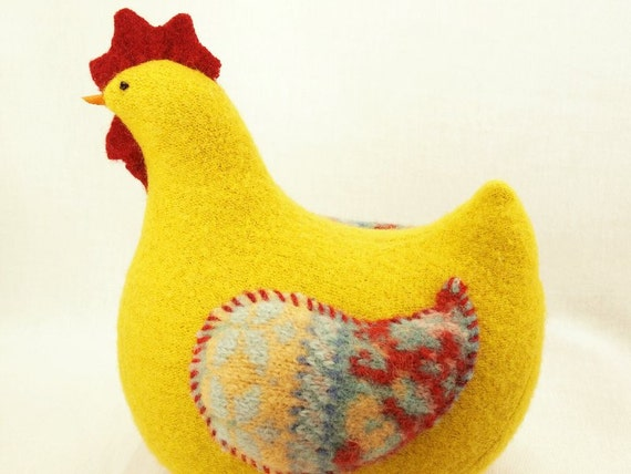 """Yellow, Red and Turquoise Chubby Home Decor Interior Spring Nursery Chicken Hen Upcycled Wool Knitwear Lamb Wool Stuffing Height about 7"""""""