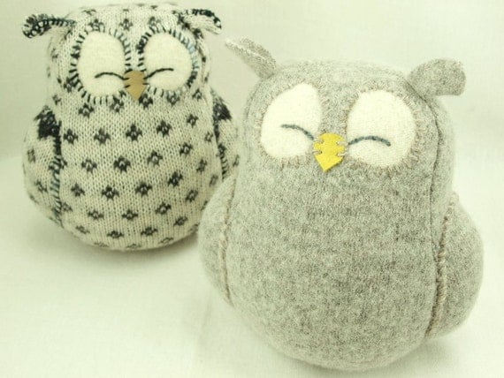 """Light  Grey Sleepy Owl  Felted Wool Lamb Wool Stuffing Eco Friendly Upcycled Home Decor Interior Height 7"""""""