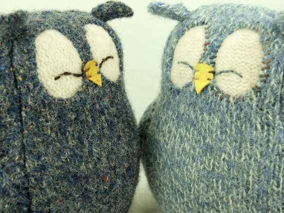 """Repurposed Wool Owl Felted Wool Lamb Wool Stuffing Upcycled Home Decor Eco Friendly Ornament Interior Height 7"""""""