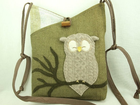 Owl Shoulder Bag  Linen Moss Green Beige and White Owl Applique Adjustable Leather Strap Upcycled Eco Friendly Height 10""