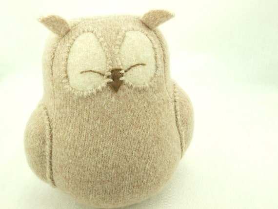 Felt Owl Ornament Light  Beige Felted Wool Lamb Wool Stuffing Eco Friendly Home Decor Upcycled   Height 7""