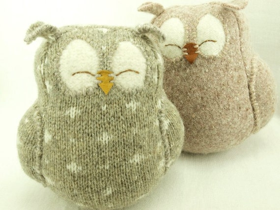 "Owl Felt Wool  Recycled  with Lamb Wool Stuffing Beige Gray with White Spots Home Decor Eco Friendly Nursery Height 7"" Eco Friendly Upcycled"