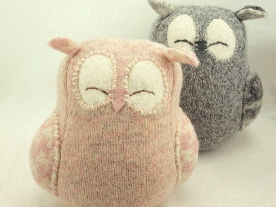Nursery Decor Owl Light Pink Sleepy Owl Recycled Felted Wool Eco Friendly Lamb Wool Stuffing Height 7""
