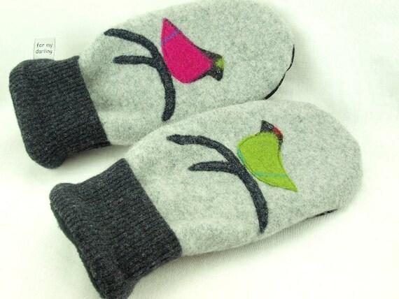 Felt  Mittens Bird Mittens Fleece Lined Mittens Felted Wool in Dark and Light Grey Pink Green Bird Applique Leather Palm Eco Friendly Size M