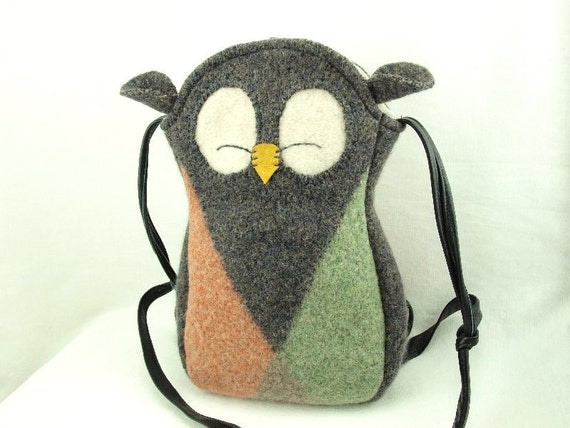 Owl Felted Wool Purse Recycled Sweater Tote in Grey, Green and Red Adjustable Leather Strap Cotton Lining Eco Friendly