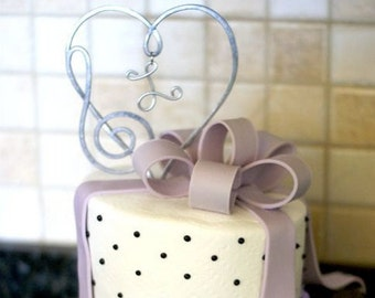 Musical Heart Treble Bass Clef Cake Topper  PERSONALIZED with your  INITIAL