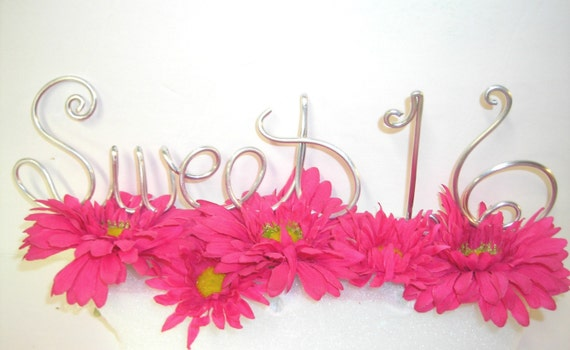 3 Piece Sweet Sixteen 16 Cake Topper Custom Wire Words For