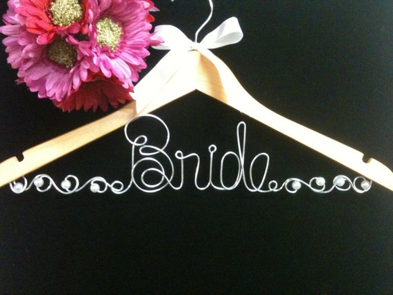 JUMBO letters Bride Hanger with Swirls and Pearls Custom Wedding Hanger