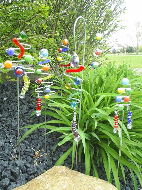 3 Garden Art Plant Stick Colorful Sun Catcher Funky Yard