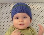 Baby beanie - Cobalt with grass green stripe