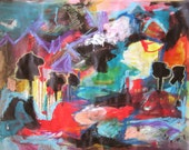 fishing village /acrylic Sea Art Abstract Painting original Landscape/ water painting red green blue black newfoundland art seascape