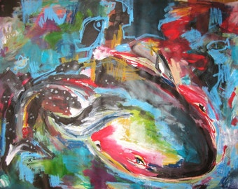 Whale painting abstract acrylic expressionism art , Abstract Original Painting red blue Landscape sea art abstract  by seonjeongkim