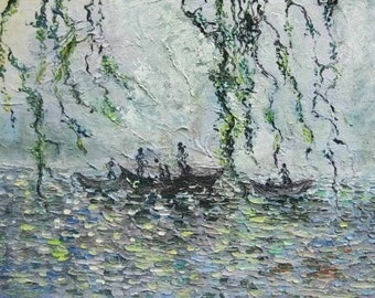 fishingboat abstract painting seascape oil painting, lake painting, sea art, grey green blue painting, oil painting seascape, oil lake art