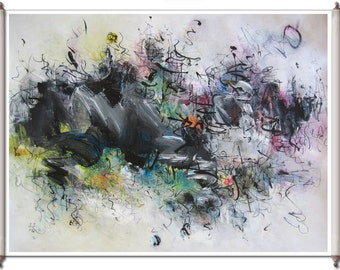Marvelous Abstract Painting Purple Gray Pink Yellow Green black painting, abstract original landscape art contemporary acrylic ink sjkim