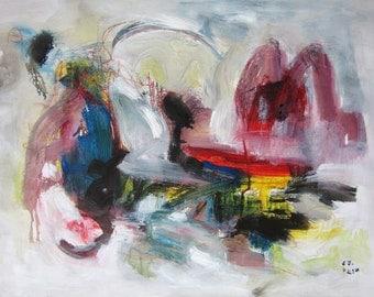 original, abstract painting landscape, art landscape, red blue yellow, modern landscape, acrylic modern landscape, expressionism art, skim