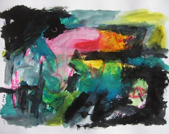 Caribbean Abstract Painting green blue pink black art Ooriginal landscape colorful abstract green blue abstract by sjkim