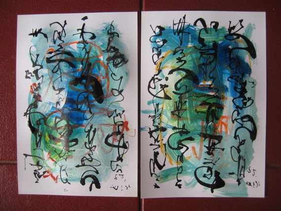 set of 2 original paintings, blue green abstract, abstract calligraphy expressionism painting,   by sj.kim