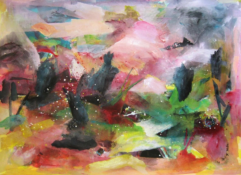 Abstrait peinture printemps immense paysage art grand original for Tableau abstrait gris et rose