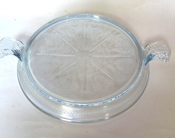 FIre King  Glass Sapphire Philbe Handled Trivet or Hot Plate