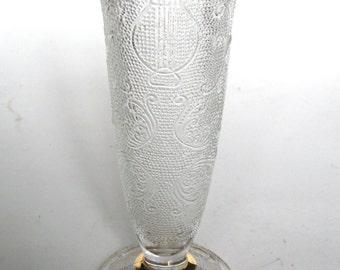 Vintage Jeannette Crystal Glass Harp Motif Footed Bud Vase for a Few Garden Flowers