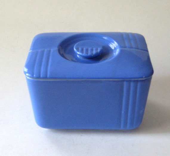 Vintage Hall China Cadet Blue Phoenix Deco Refrigerator Dish or Leftover