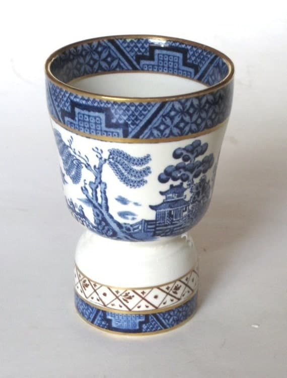 Vintage Blue Willow China Double Egg Cup Amazing Decoration