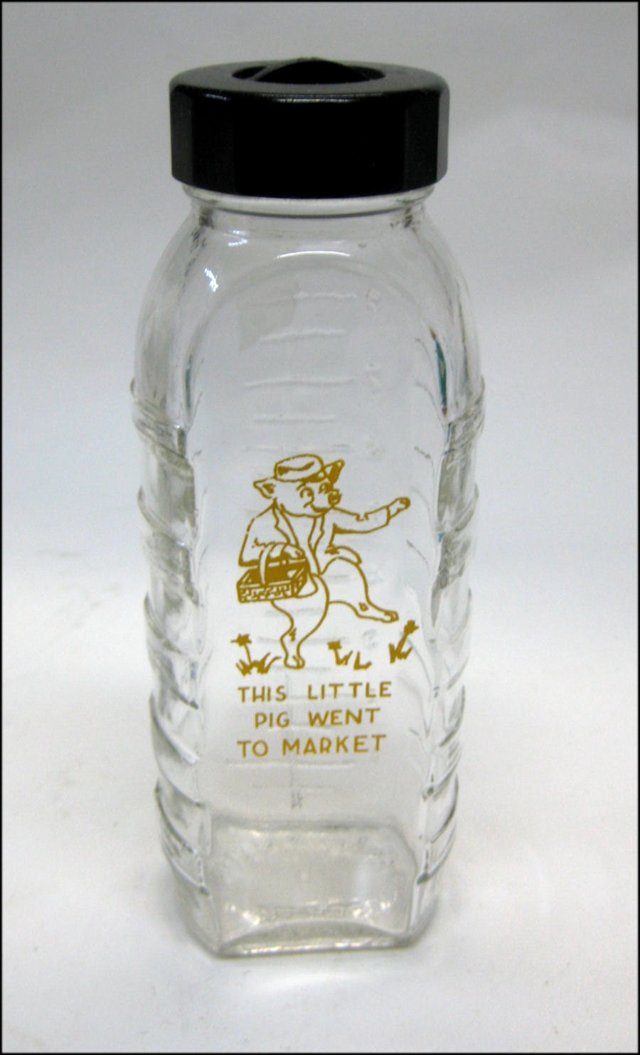 Vintage glass baby bottle this little pig by for Retro glass bottles