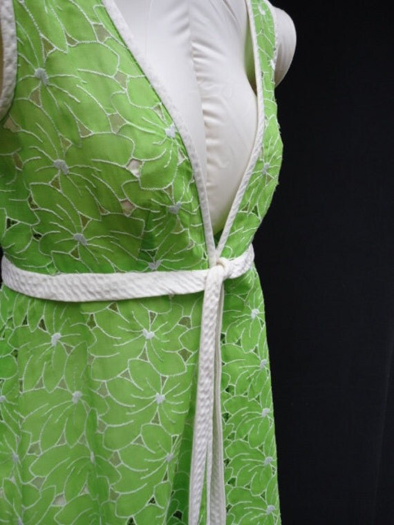 Reserved for Shirley 60s 70s Vintage Dress : Vintage 60s 70s Apple Green Peekaboo Maxi Dress/Robe/CoverUp by Princess Kaiulani Hawaii