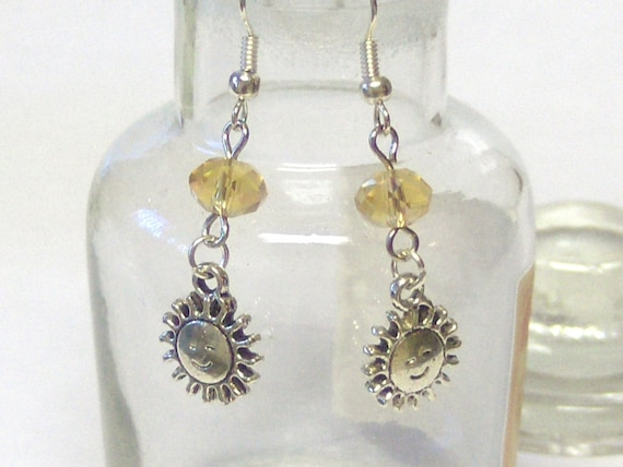 Smiling Sun Earrings with Yellow Accent Beads