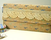 Envelope Clutch - Vintage Tan Brocade Fabric - Vintage Hand Crochet Lace