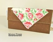 Envelope Clutch - Brown Waxed Canvas and Vintage Hankie - Red & Pink Roses - SALE