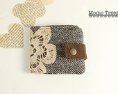 Fabric Women's Wallet - Brown Herringbone & Vintage lace