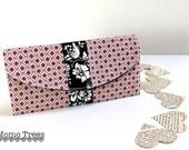 BiFold Women's Wallet - Credit Card Wallet - Pink and Black - Geometric Pattern