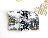 Lady's Wallet - Cloth Wallet - Mini Wallet Card Holder- Black and White Toile- Ruffle